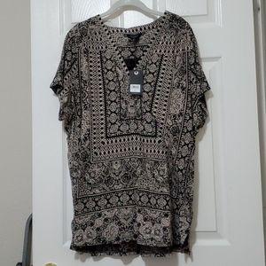 Lucky Brand black and cream print shirt